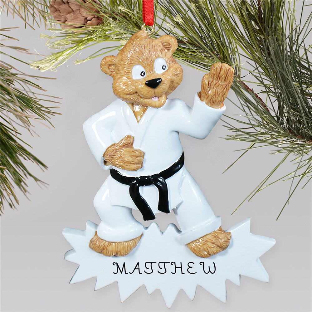 Personalized Karate Bear Ornament | Personalized Christmas Ornaments For Kids