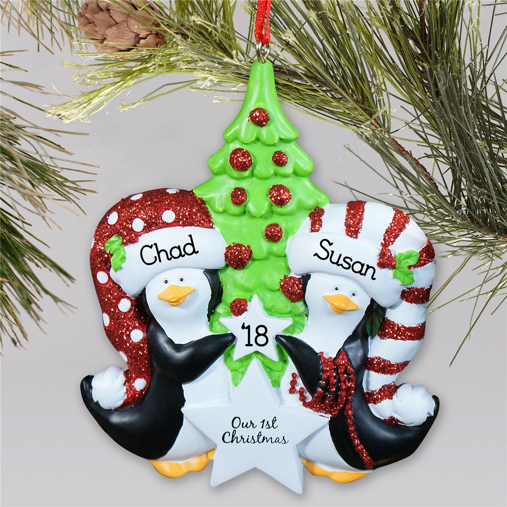 Personalized Our First Christmas Penguin Ornament | Personalized Couples Ornament