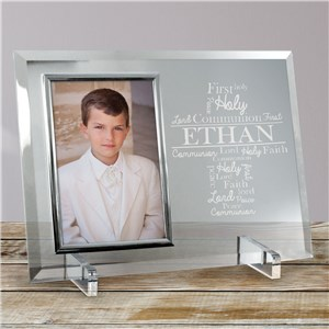 Engraved First Communion Word-Art Glass Frame | Personalized Word Art