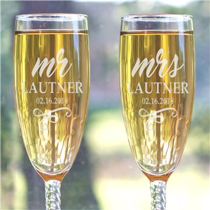 Engraved Mr & Mrs Flutes