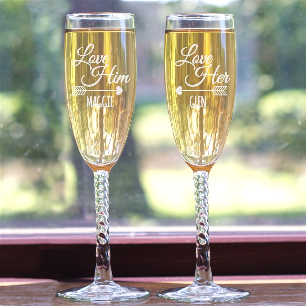 Engraved Love You Flute Set | Personalized Wedding Gifts