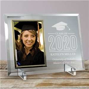 Engraved Class of Cap Beveled Glass Frame | Graduation Frames 2019