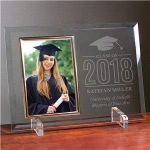 Engraved Class of Cap Beveled Glass Frame | Graduation Frames 2018