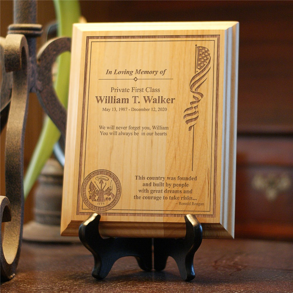 Personalized Military Memorial Wood Plaque | Remembrance Gifts