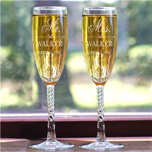 Engraved Mr and Mrs Glass Flutes | Personalized Champagne Flutes