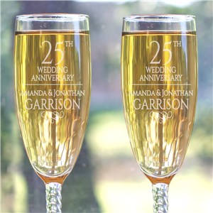 Engraved Anniversary Toasting Flutes | Engraved Champagne Flutes