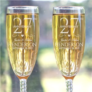 Engraved Wedding Anniversary Toasting Flutes | Engraved Champagne Flutes