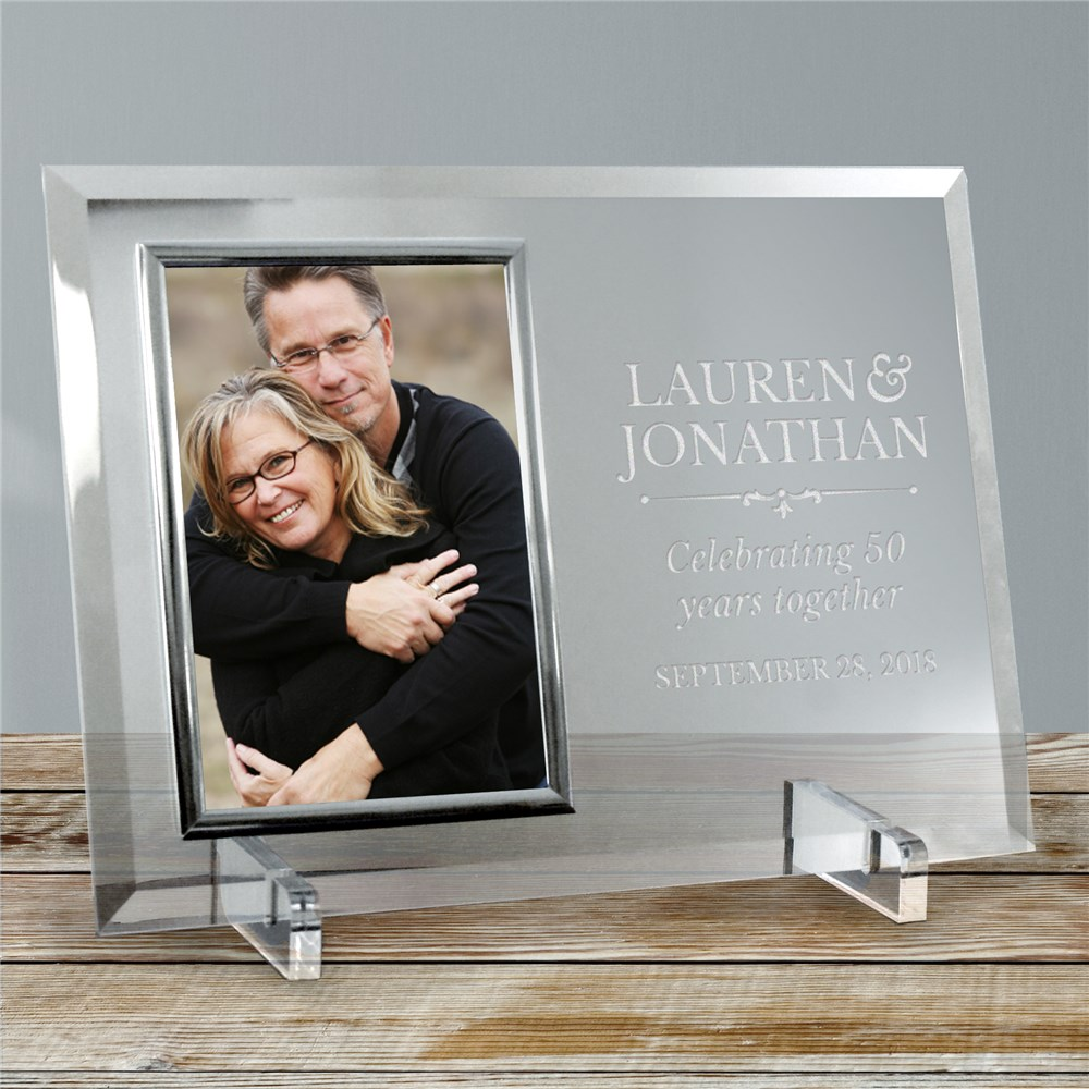 Engraved Couples Beveled Glass Frame | Personalized Anniversary Frames
