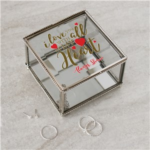 Personalized I Love You With All My Heart Jewelry Box | Personalized Jewelry Box
