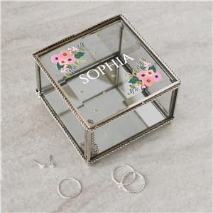 Personalized Floral Name Jewelry Box | Personalized Jewelry Box