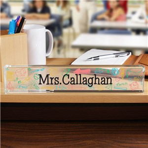 Personalized Colorful Icons Teacher Name Plate | Personalized Teacher Gifts