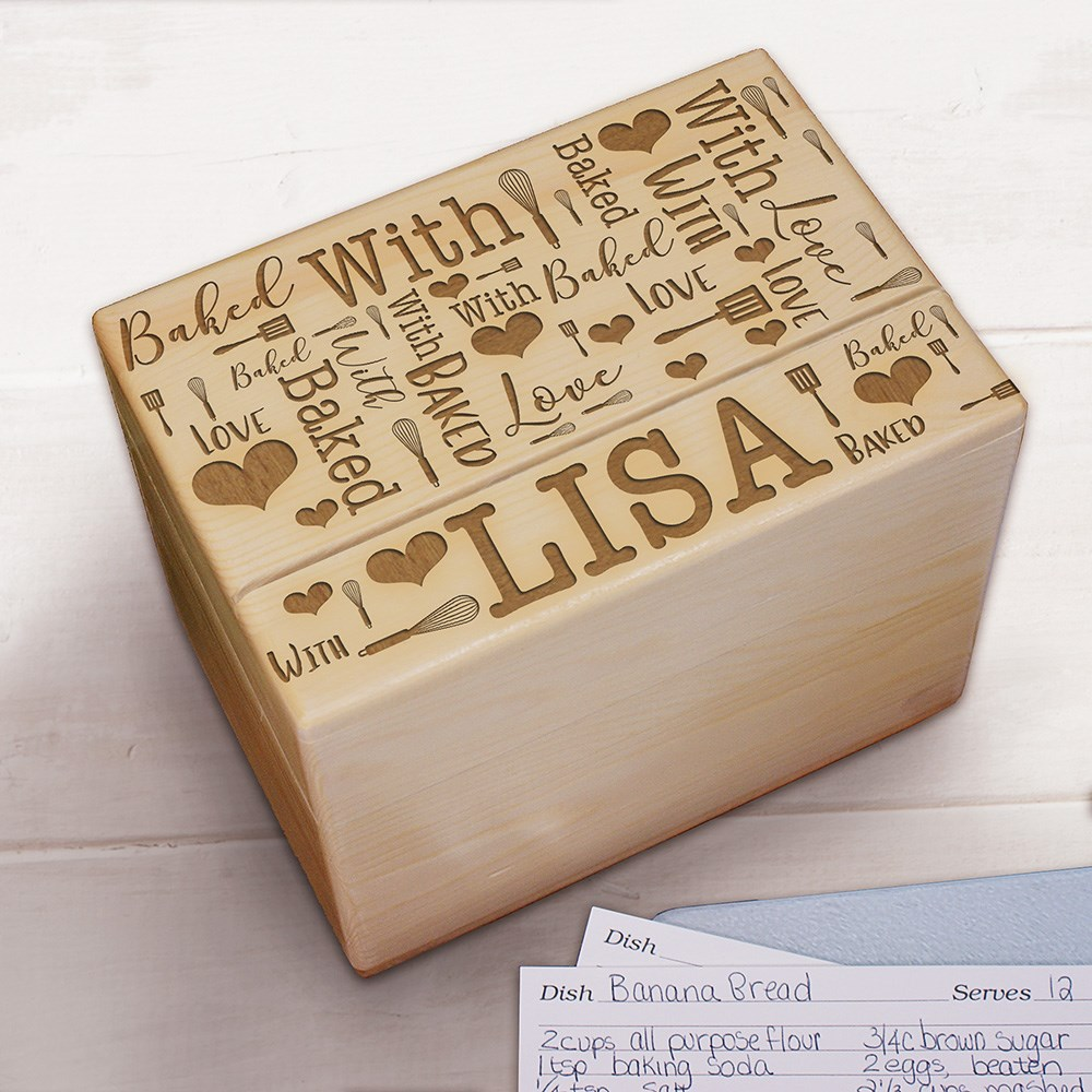 Word-Art Personalized Recipe Box | Engraved Recipe Box