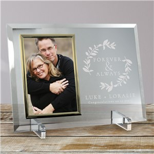 Customized Glass Picture Frames | Gold Trim Anniversary Frame