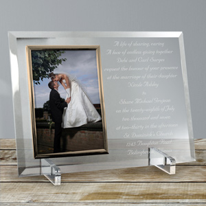 Wedding Invitation Personalized Beveled Glass Picture Frame | Personalized Picture Frames