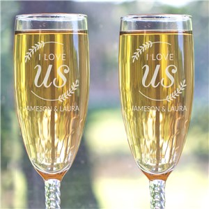 Engraved I Love Us with Branches Toasting Flute