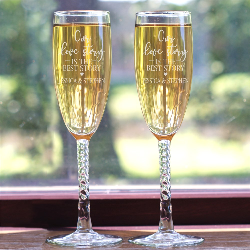 Engraved Our Love Story Toasting Flute