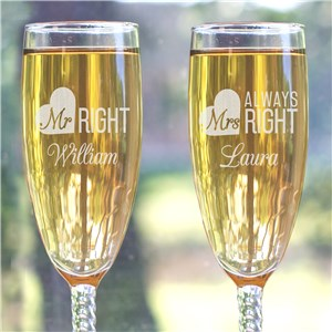 Engraved Mr. & Mrs. Right Toasting Flute Set
