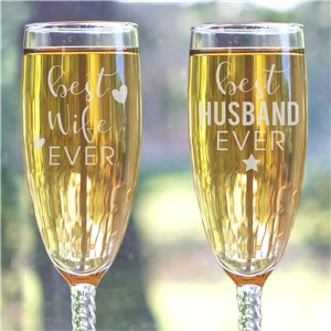 Engraved Best Wife or Husband Ever Toasting Flute