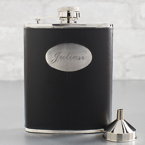 Black Leatherette Personalized Flask | Personalized Groomsmen Flasks