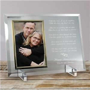 Love Is Magic Anniversary Personalized Beveled Glass Picture Frame | Personalized Picture Frames