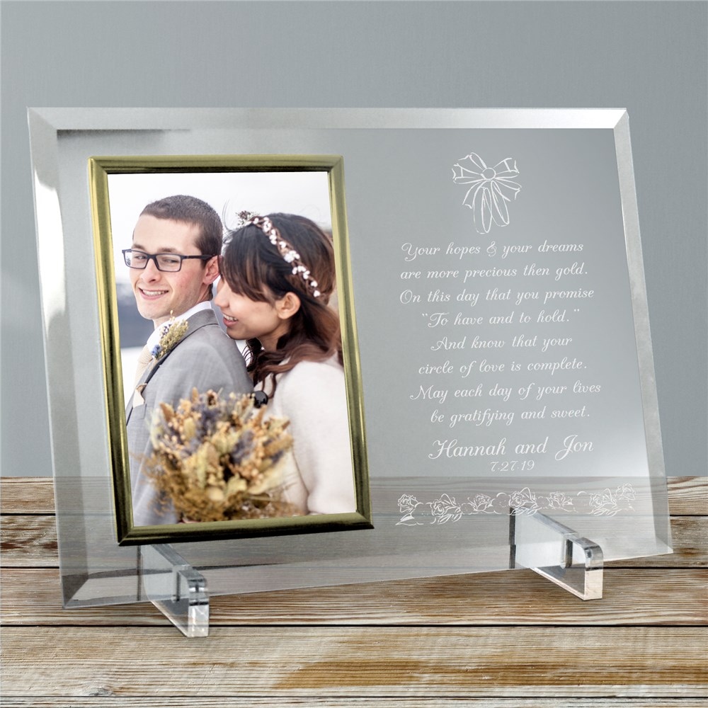 To Have and To Hold Beveled Glass Picture Frame | Personalized Picture Frames