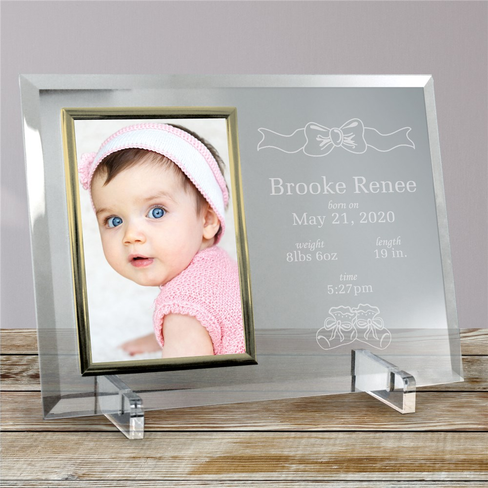 In the Beginning New Baby Beveled Glass Picture Frame | Personalized Baby Frames
