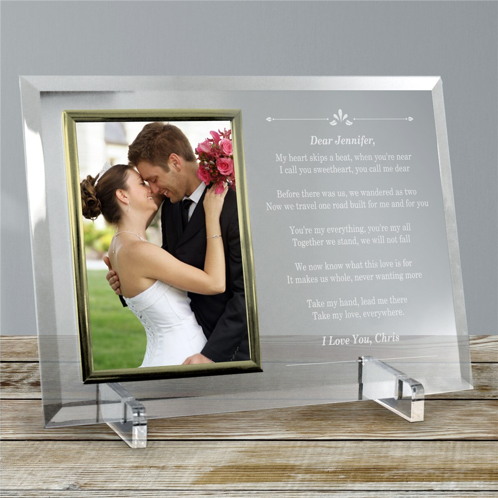 I'm Glad There's You Beveled Glass Picture Frame | Personalized Picture Frames
