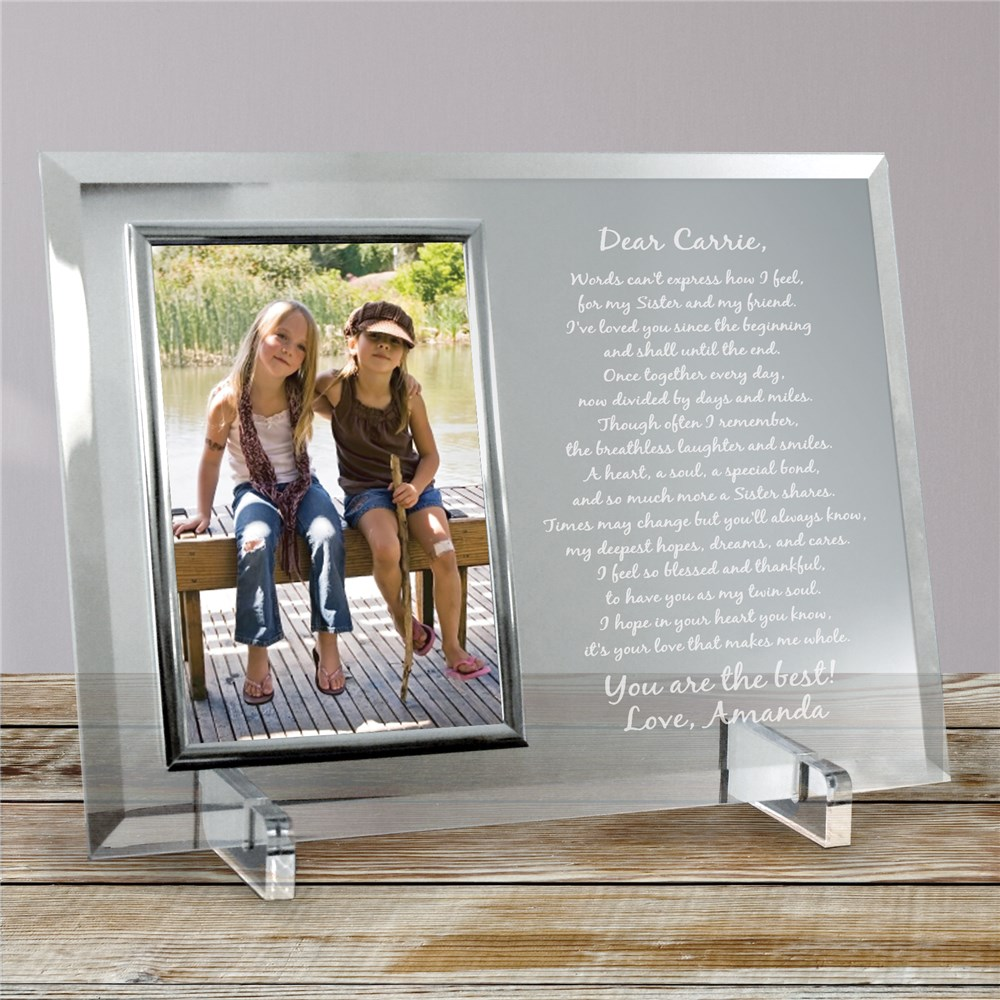 To My Sister... Beveled Glass Picture Frame | Personalized Picture Frames