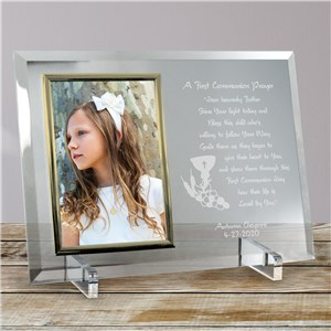 First Communion Beveled Glass Picture Frame | Personalized Picture Frames