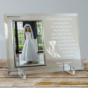 Engraved First Communion Glass Picture Frame