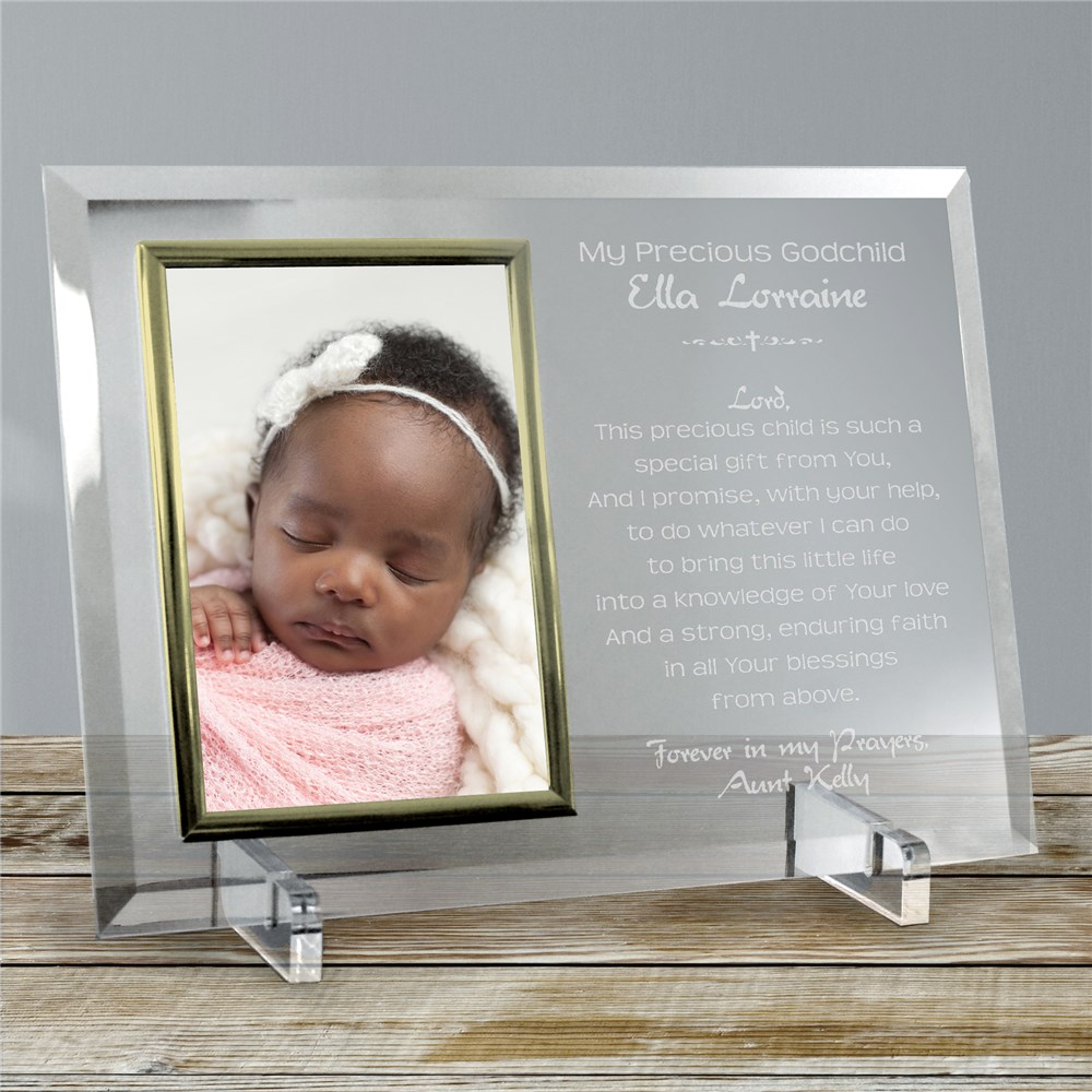 A Godparent's Promise Beveled Glass Picture Frame | Personalized Picture Frames