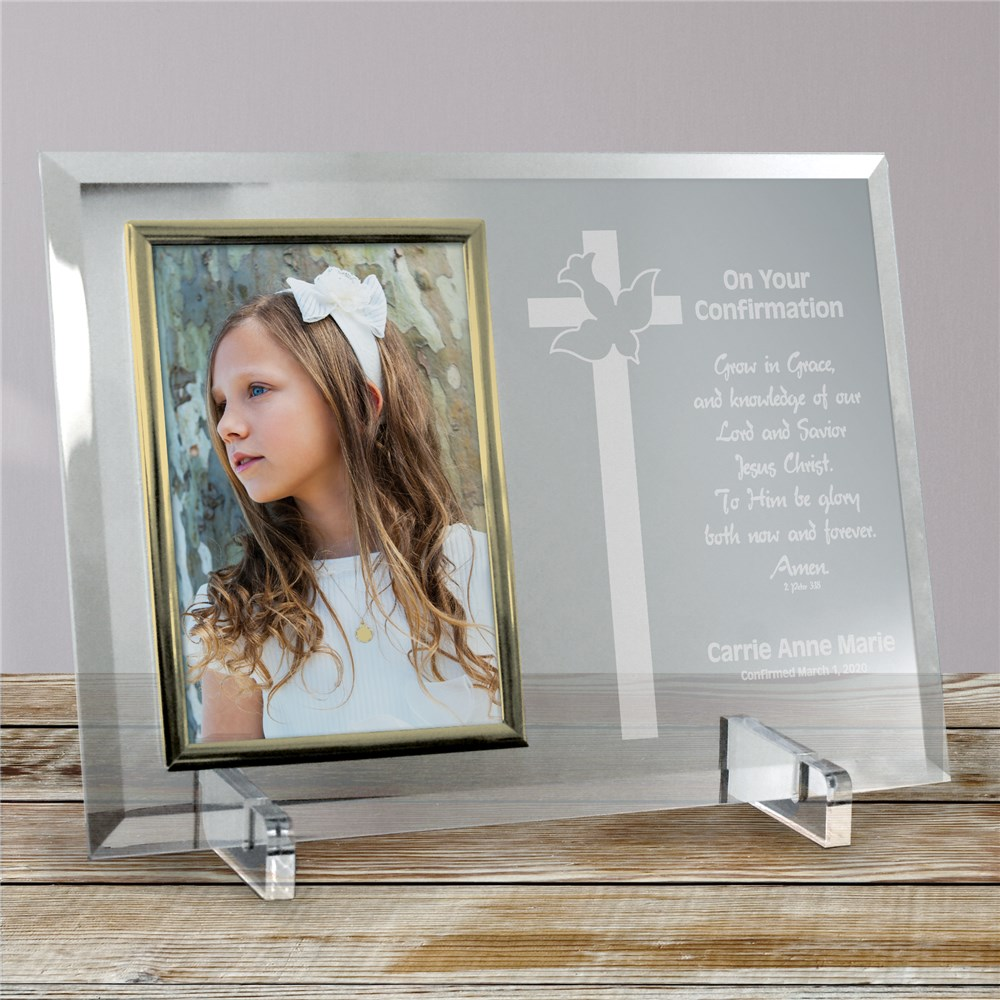 My Confirmation Beveled Glass Picture Frame - Personalized | Personalized Picture Frames