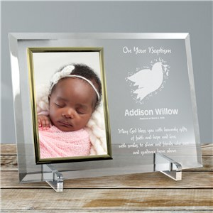 For My Baptism Beveled Glass Personalized Picture Frame | Personalized Baptism Frames