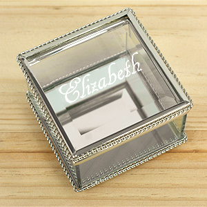 Engraved Double Heart Key Chain |  Personalized Jewelry Box