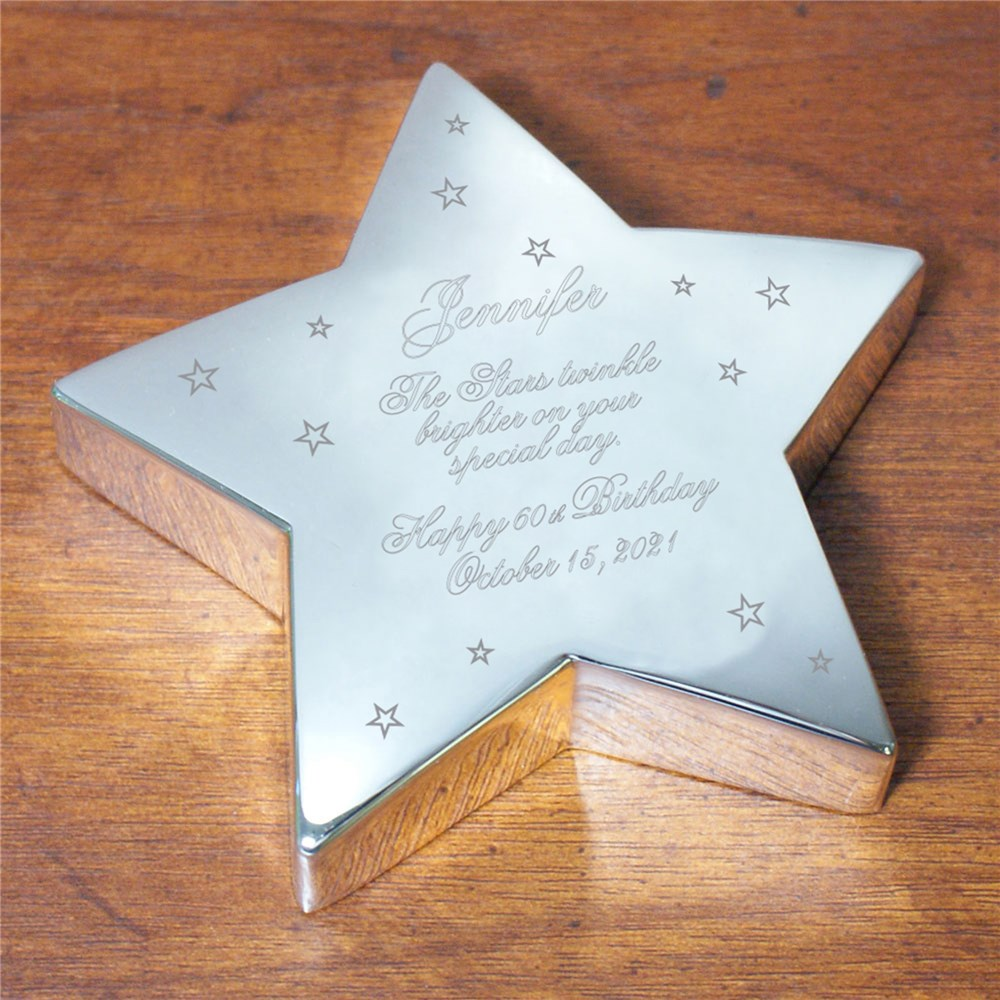Engraved Birthday Silver Star Keepsake 8526690
