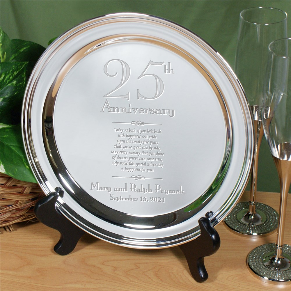 Personalized Wedding Anniversary Silver Plate