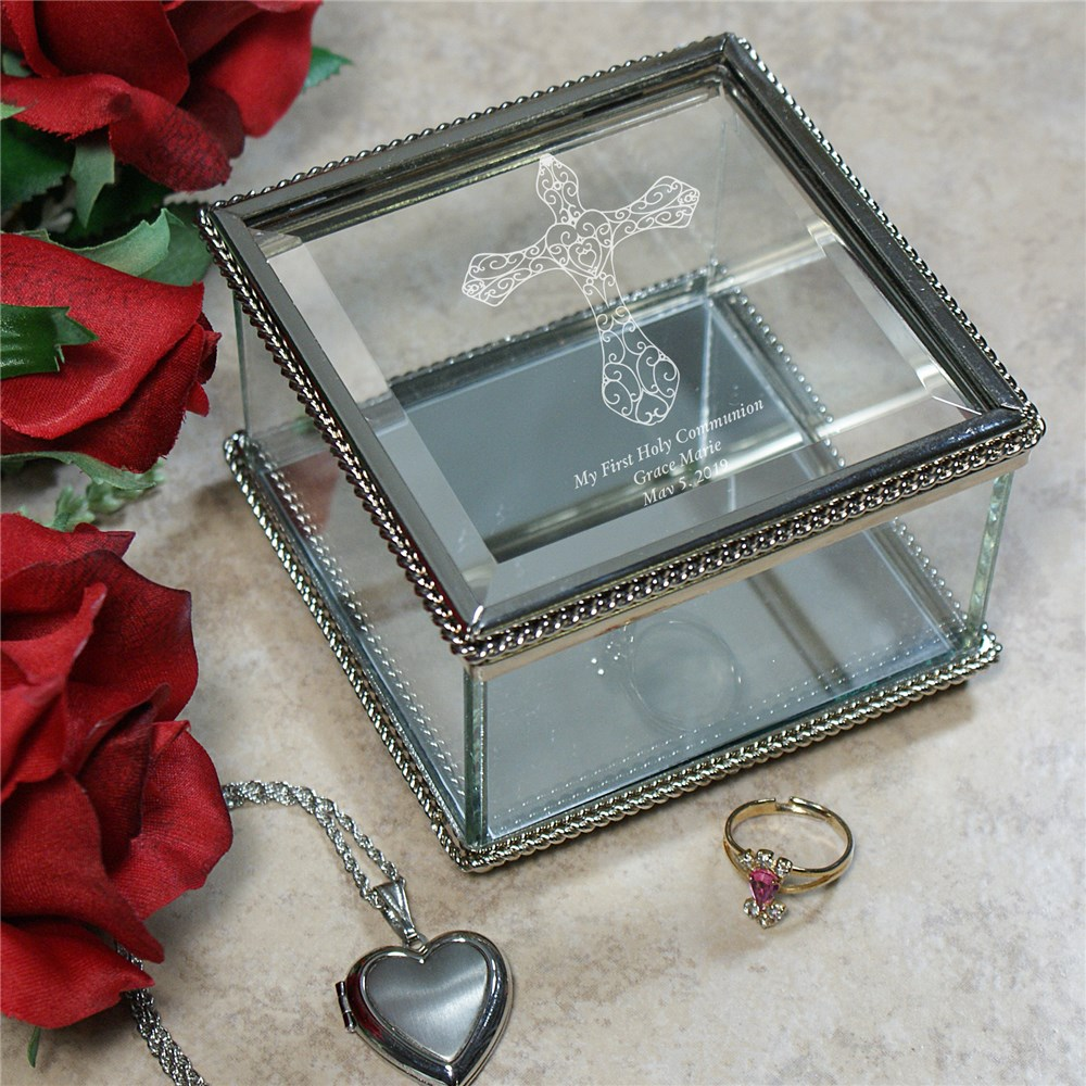 Engraved First Holy Communion Glass Jewelry Box | Personalized Keepsake Box
