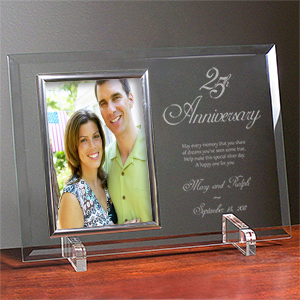 25th Anniversary Personalized Beveled Glass Picture Frame 8530078