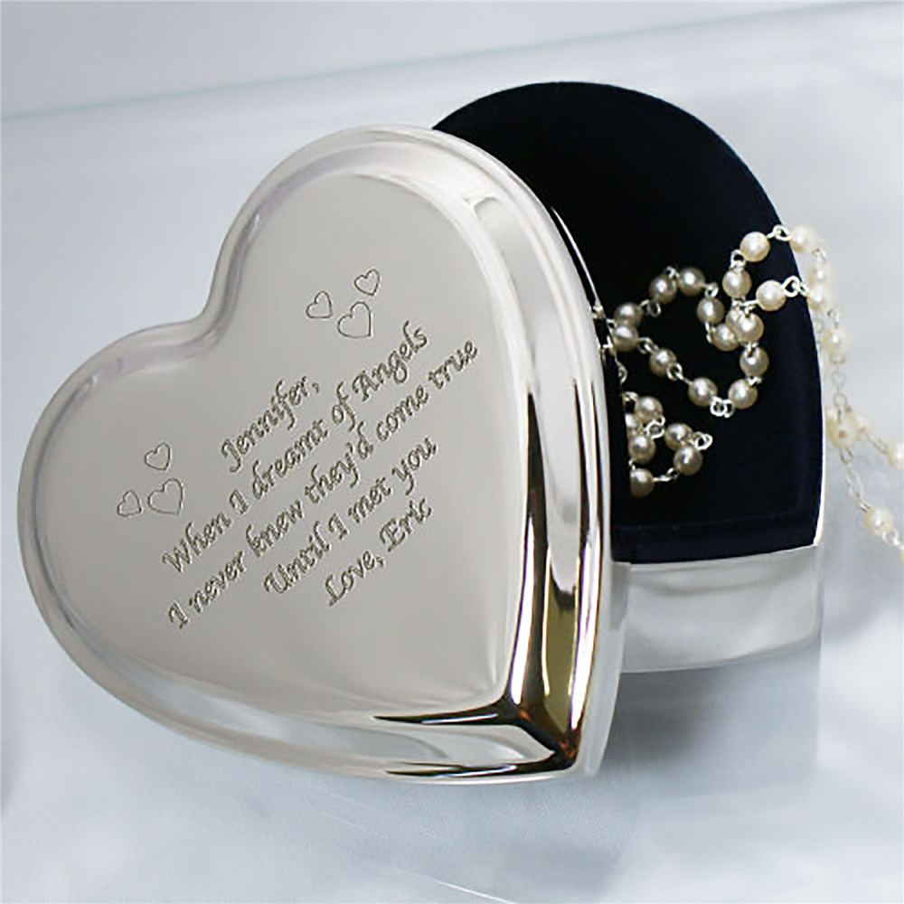 Engraved Silver Heart Jewelry Box | Valentine's Day Gifts Under 25