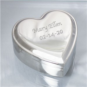 Engraved Name Silver Heart Jewelry Box | Personalized Keepsake box