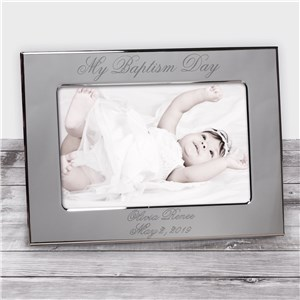 My Baptism Day Silver Personalized Picture Frame | Customized Baby Gifts