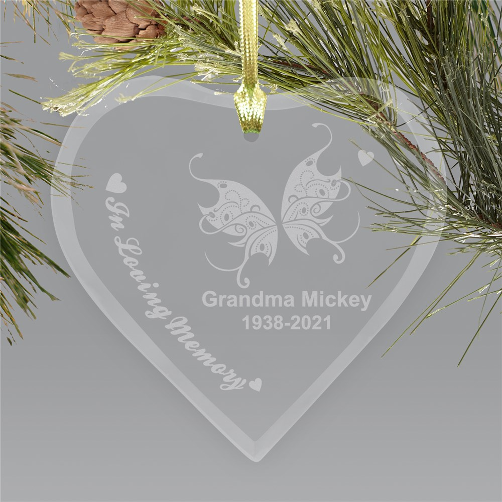 Engraved Heart Memorial Chritstmas Ornament | Memorial Christmas Ornaments