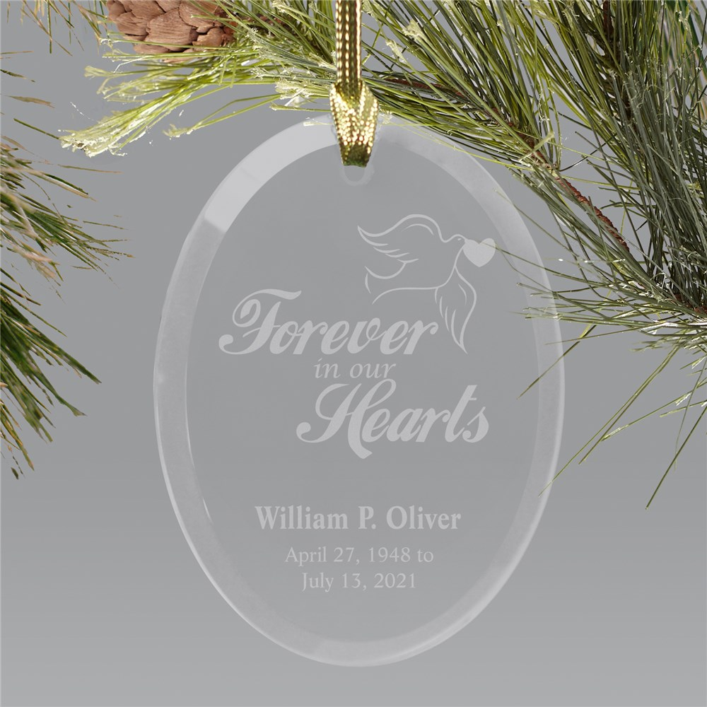 Engraved Forever In Our Hearts Memorial Ornament | Personalized Memorial Ornaments