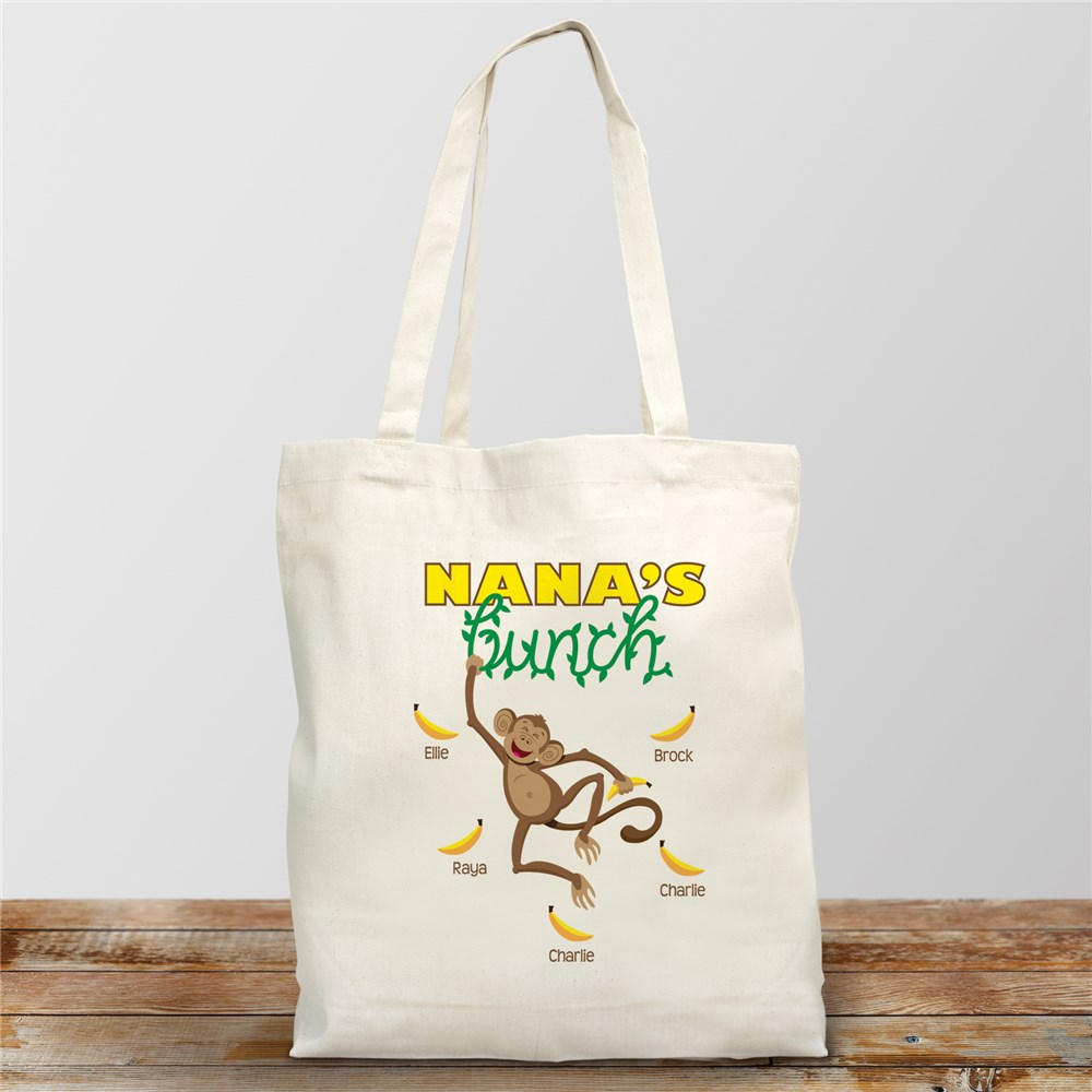 Personalized Monkey Bunch Tote Bag | Personalized Canvas Tote Bags