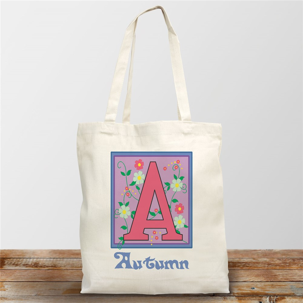 Floral Initials Personalized Canvas Tote Bag