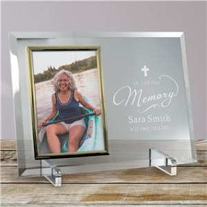 Engraved In Loving Memory Beveled Glass Frame | Personalized Picture Frames