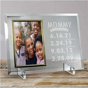 Engraved Mom Established Glass Frame | Happy Mother's Day Photo Frame