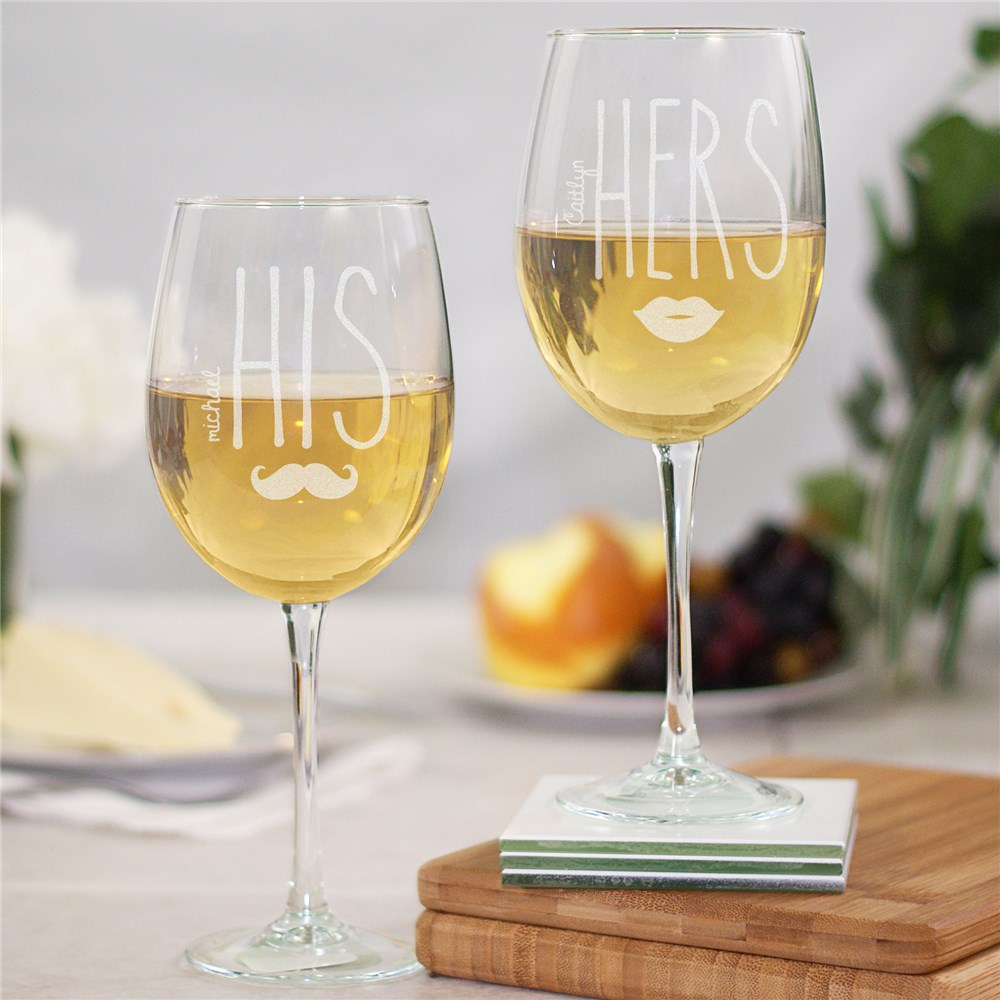 Engraved His and Hers Wine Glass Set | Romantic Home