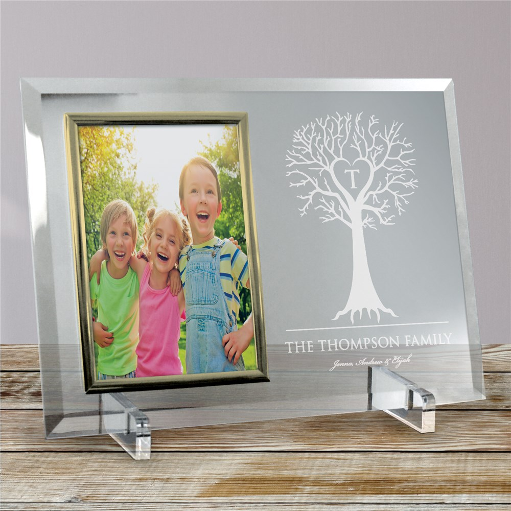 Engraved Family Tree Beveled Glass Frame | Personalized Picture Frames