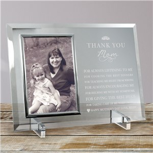 Engraved Thank You Mom Glass Frame | Personalized Mother's Day Gifts